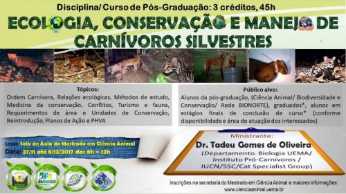 """Curso de """"Ecologia , Conservação e Manejo de Carnívoros Silvestre"""""""